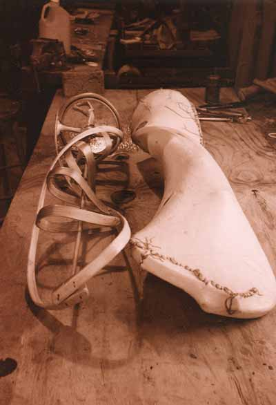 Image of paddle in process with wet hide in studio